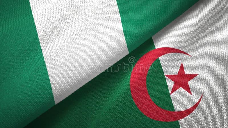 尼日利亚和阿尔及利亚两旗子纺织品布料,织品纹理 库存例证