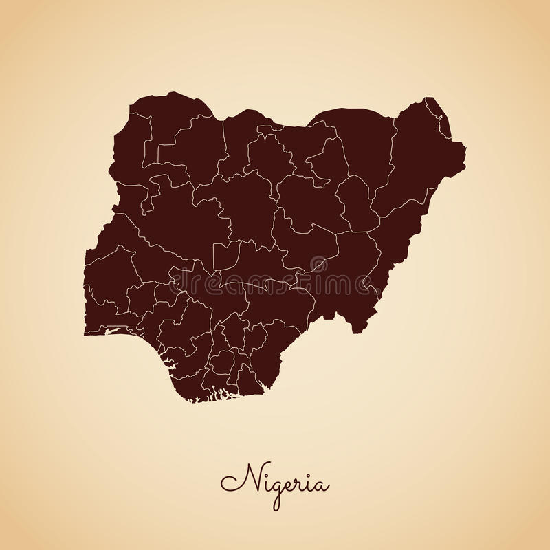 尼日利亚地区地图:减速火箭的样式褐色概述 库存例证