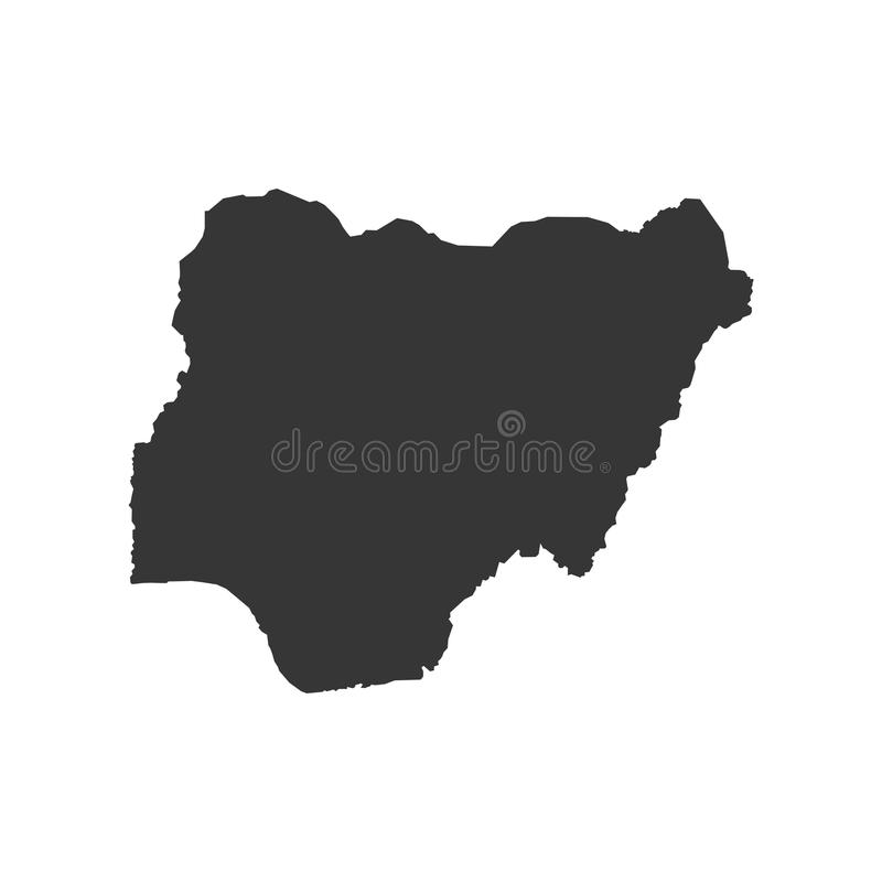 尼日利亚地图剪影 库存例证