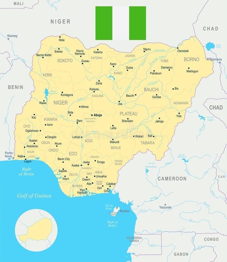 尼日利亚地图-详细的传染媒介例证.图片