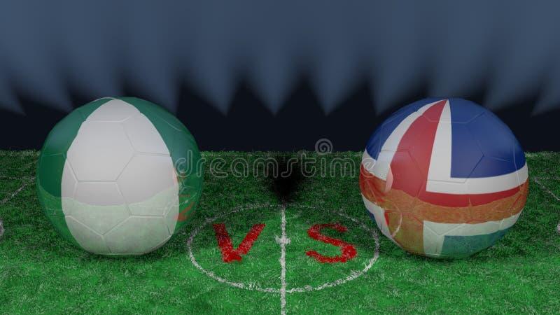 尼日利亚对冰岛 2018年世界杯足球赛 原始的3D图象 库存例证