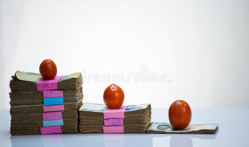 尼日利亚当地货币N1000,N500,N200在bundleand蕃茄的奈拉笔记 免版税库存照片