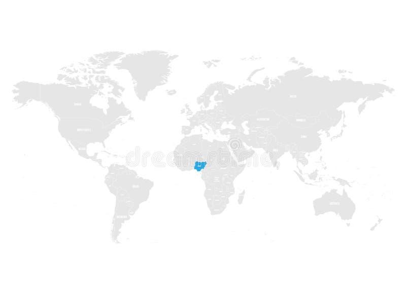尼日利亚由在灰色世界政治地图的蓝色指示了 也corel凹道例证向量 皇族释放例证