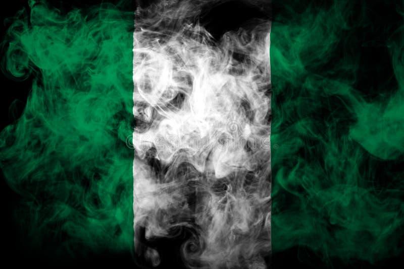 尼日利亚的国旗从厚实的彩色烟幕的 免版税库存图片