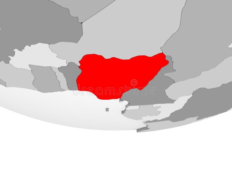 尼日利亚的地图灰色政治地球的 库存例证
