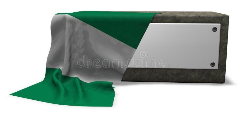 尼日利亚的石插口和旗子 库存例证