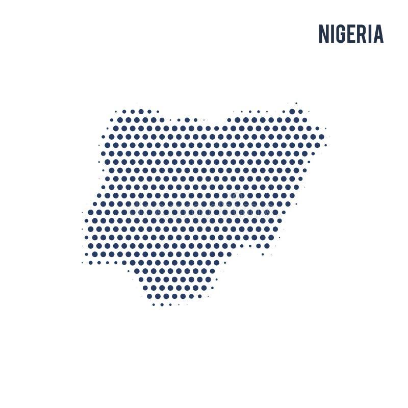 尼日利亚的被加点的地图在白色背景隔绝了 库存例证