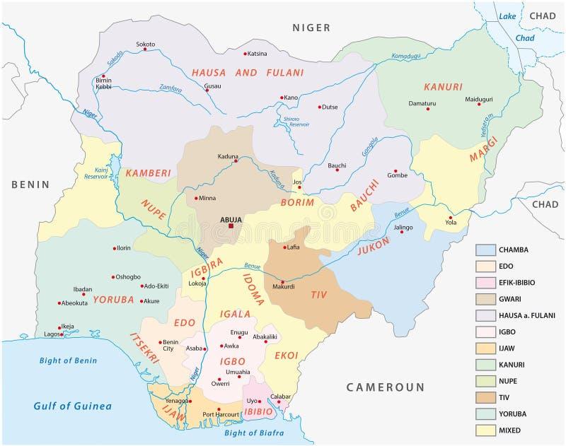 尼日利亚的Lingustic地图 皇族释放例证
