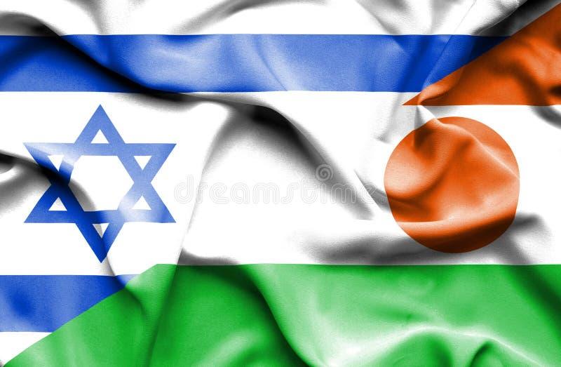 尼日尔和以色列的挥动的旗子 向量例证