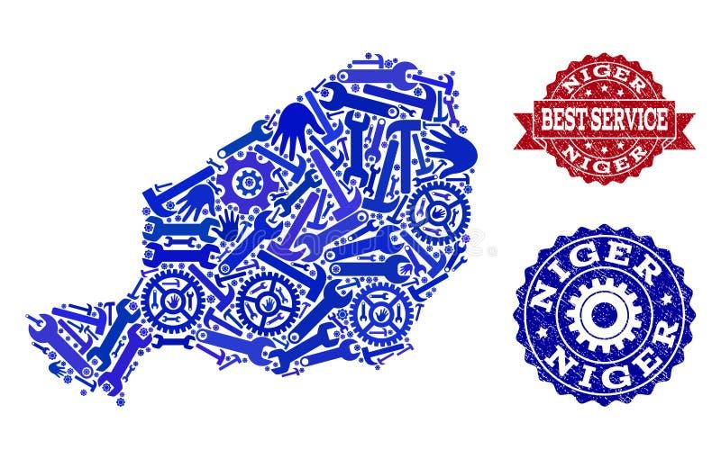 尼日尔和难看的东西邮票地图最佳的服务拼贴画  皇族释放例证