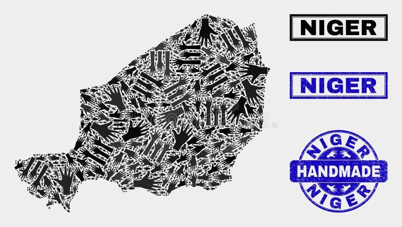 尼日尔地图和难看的东西封印的手工制造构成 库存例证