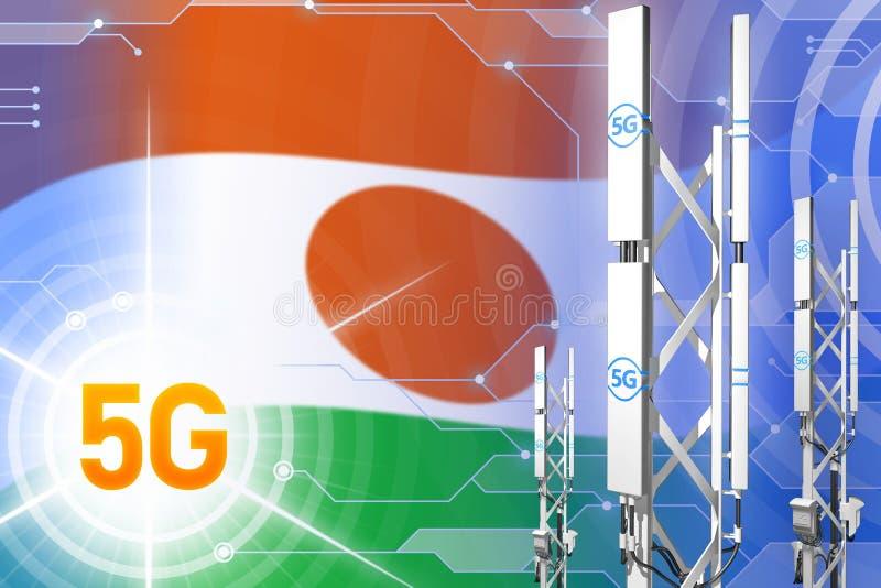 尼日尔5G工业例证、大多孔的网络帆柱或者塔在高科技背景与旗子- 3D例证 向量例证