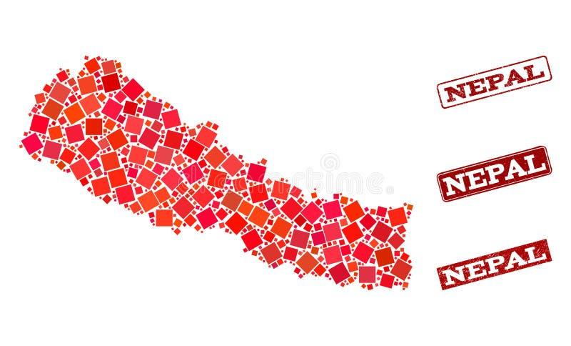 尼泊尔和被抓的学校邮票拼贴画军用镶嵌地图  皇族释放例证