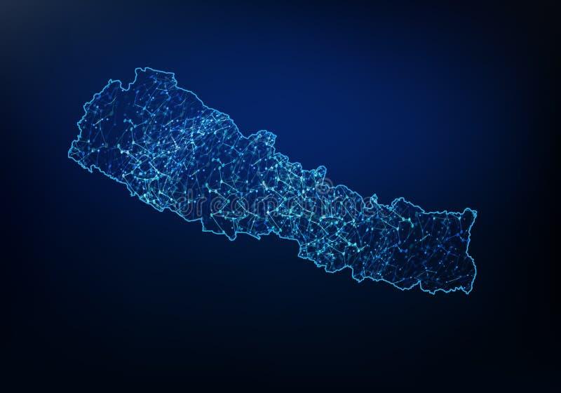 尼泊尔地图网络、互联网和全球性连接概念,导线框架3D滤网多角形网络线,设计球形摘要, 皇族释放例证