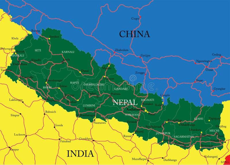尼泊尔地图 库存例证