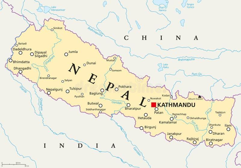 尼泊尔政治地图 库存例证