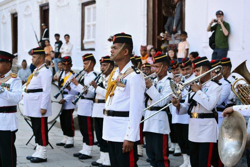 尼泊尔的军事乐队 库存照片