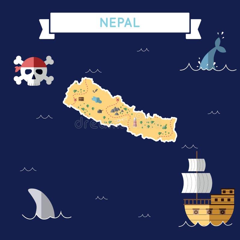 尼泊尔的平的珍宝地图 向量例证