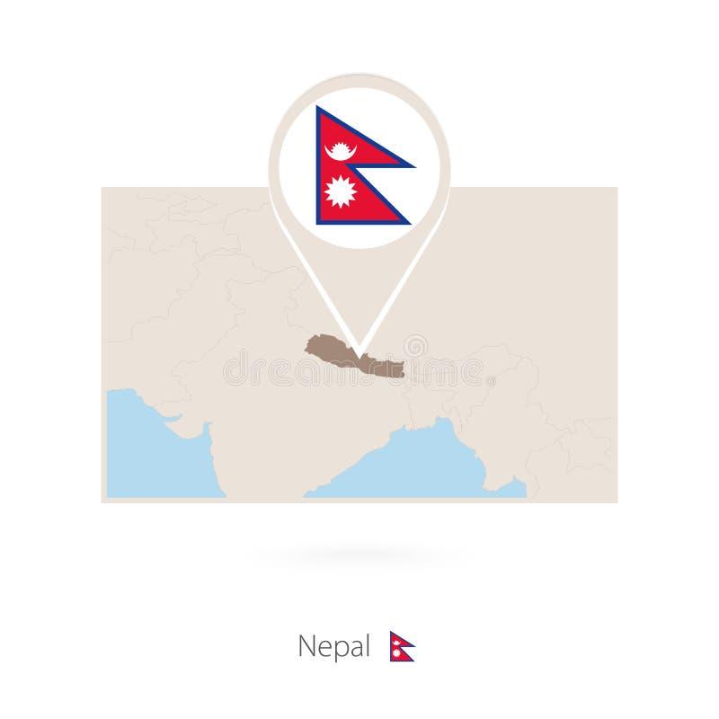 尼泊尔的长方形地图有尼泊尔的别针象的 库存例证