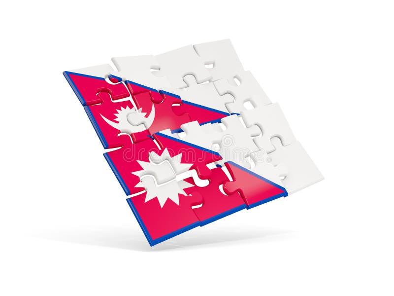 尼泊尔的难题旗子在白色隔绝了 皇族释放例证