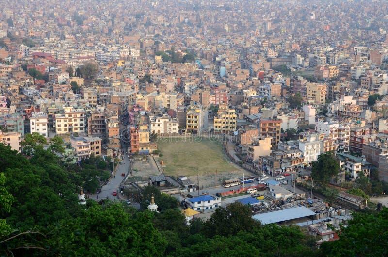 尼泊尔首都加德满都看法从猴子寺庙,尼泊尔的 库存照片