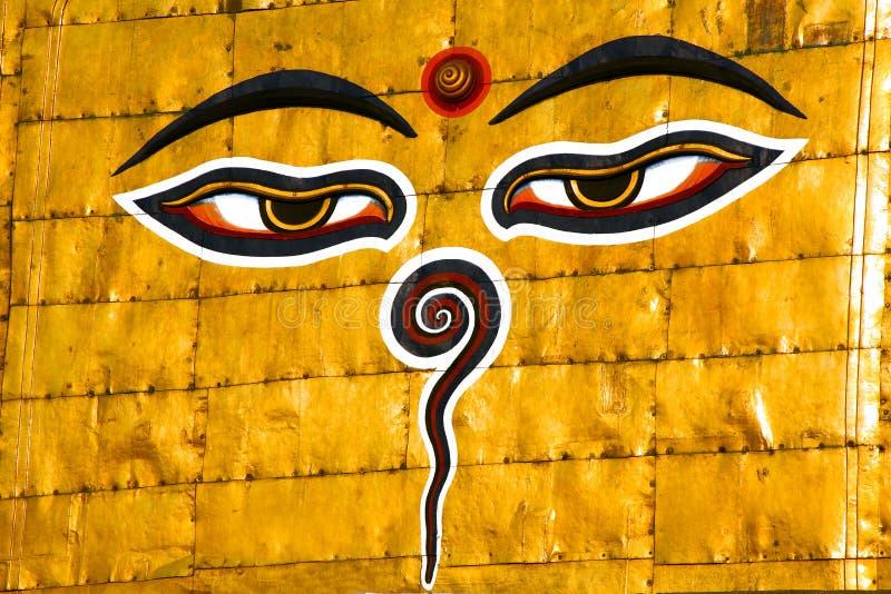 尼泊尔,菩萨的眼睛的标志在加德满都。 免版税库存照片