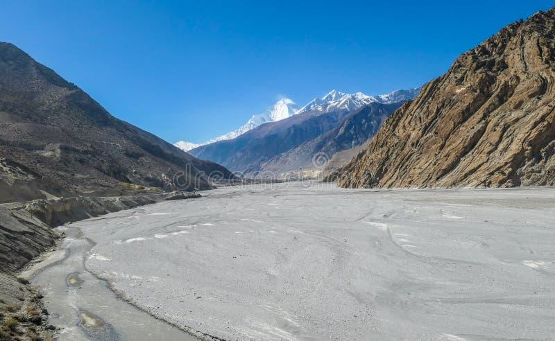 尼泊尔-对Jomsom的贫瘠方式 库存图片