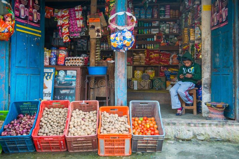 尼泊尔- 2017年1月3日: :山的地方菜市场商店 库存照片