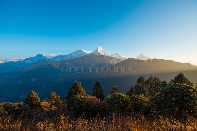 尼泊尔- 2016年12月26日: :Poon小山观点为看见雪mo 免版税图库摄影
