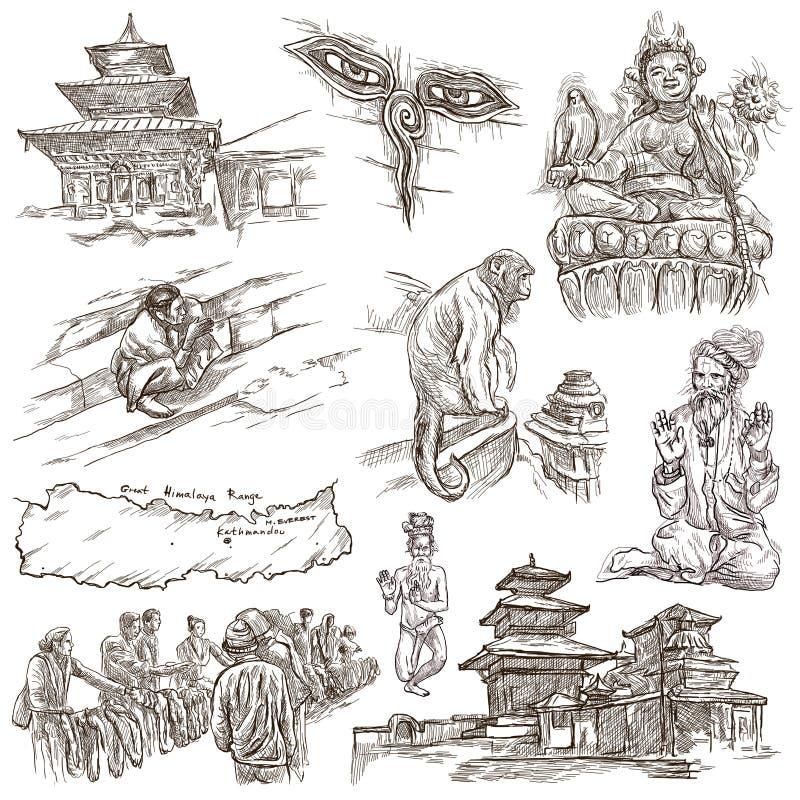 尼泊尔-生活的图片 旅行 大型手图画, orig 向量例证