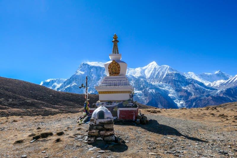 尼泊尔-白色Stupa 免版税库存图片