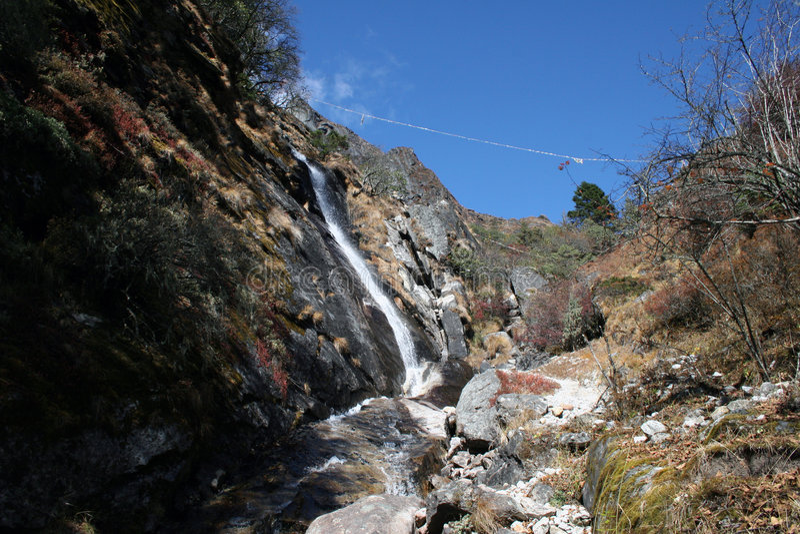 尼泊尔tenga瀑布 库存图片