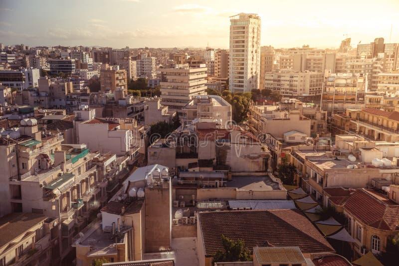 尼科西亚,塞浦路斯的南部的部分全景视图  库存照片