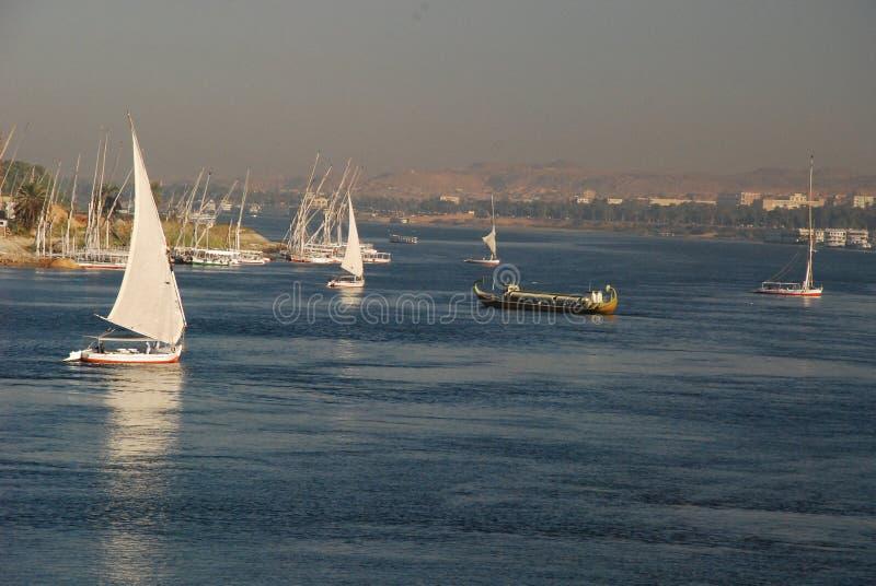 尼罗河在阿斯旺,埃及 免版税图库摄影