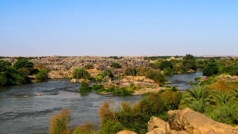 尼罗第三大瀑布在Tombos苏丹附近的 免版税图库摄影