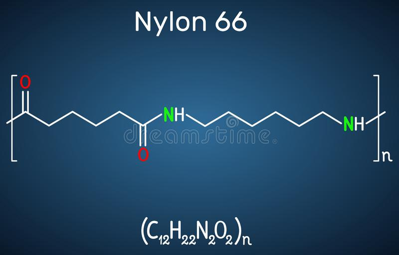 尼龙66或尼龙分子 这是塑料聚合物 在深蓝背景的结构化学式 皇族释放例证