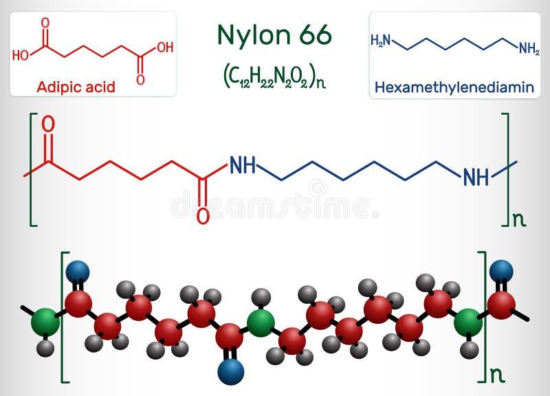 尼龙66或尼龙分子 这是塑料聚合物 r 皇族释放例证