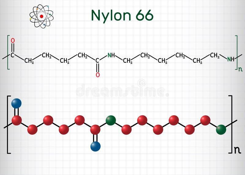 尼龙66或尼龙分子 这是塑料聚合物 r o 向量例证