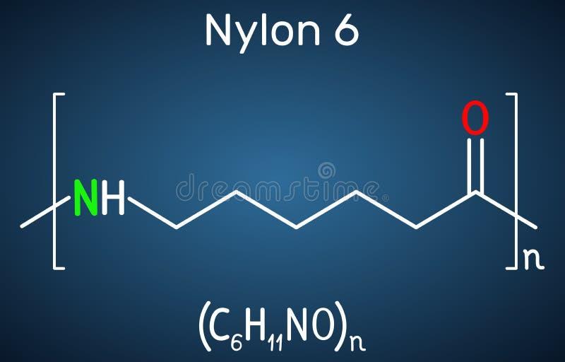 尼龙6或polycaprolactam聚合物分子 在深蓝背景的结构化学式 向量例证