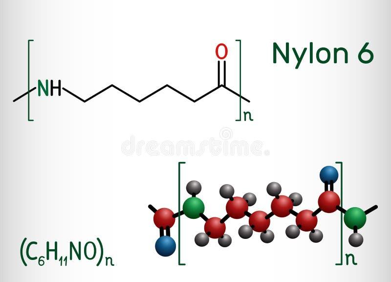 尼龙6或polycaprolactam聚合物分子 r 库存例证