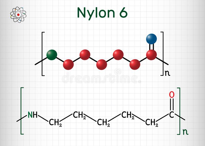尼龙6或polycaprolactam聚合物分子 r o 皇族释放例证