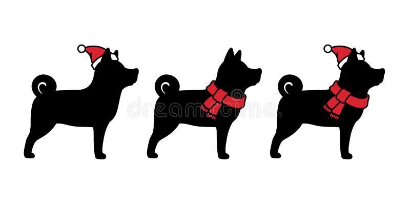 尾随传染媒介圣诞节圣诞老人象字符动画片Xmas帽子围巾商标法国牛头犬例证黑色 皇族释放例证