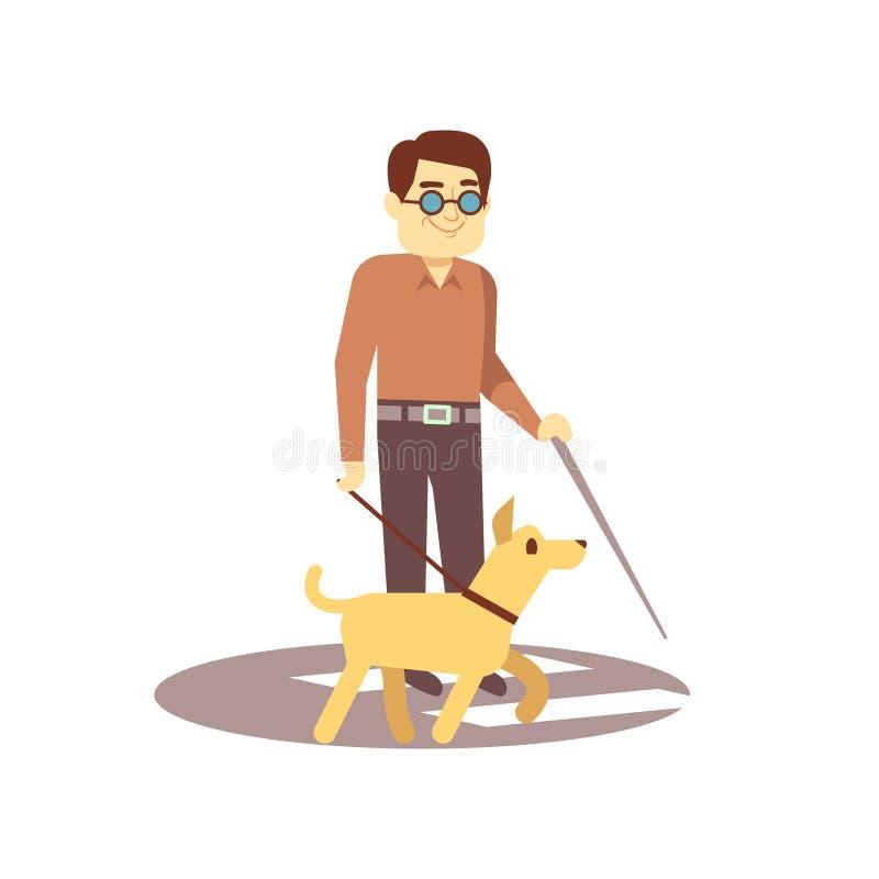 尾随伴侣和盲人步行的在白色背景-盲人和领路狗 皇族释放例证