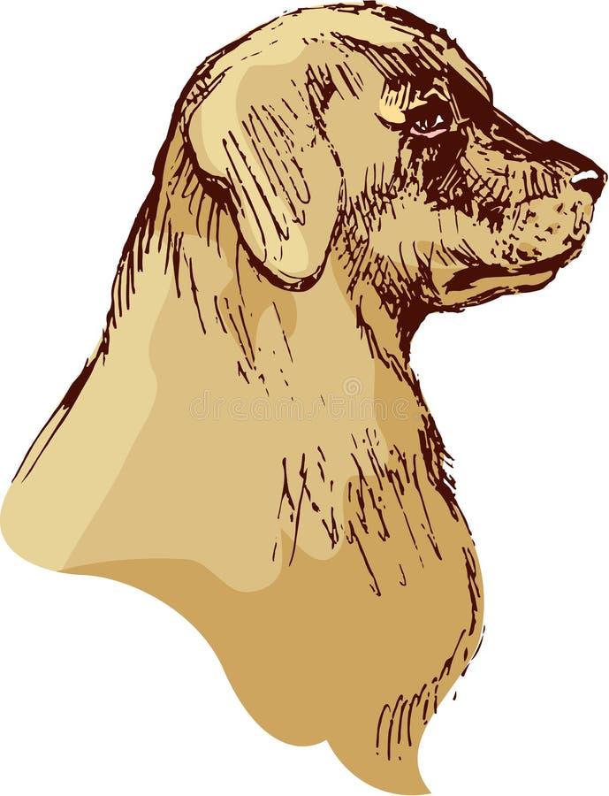 尾随坚硬的猎犬手拉的例证-在vintag的剪影 皇族释放例证