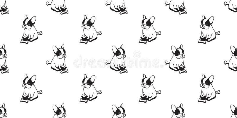 尾随无缝的法国牛头犬传染媒介样式哈巴狗坐的狗骨头被隔绝的墙纸背景 皇族释放例证
