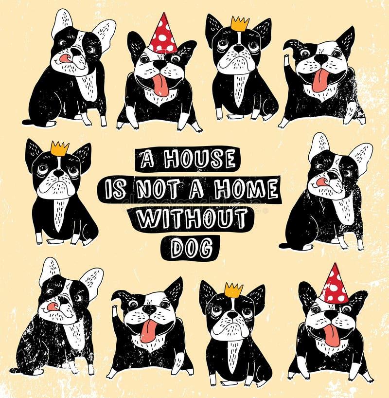 尾随法国小组牛头犬葡萄酒家标志框架颜色海报 库存例证