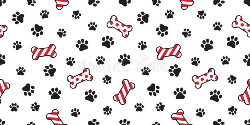 尾随爪子无缝的样式传染媒介圣诞节圣诞老人Xmas狗骨头法国牛头犬瓦片背景围巾被隔绝的例证汽车 向量例证