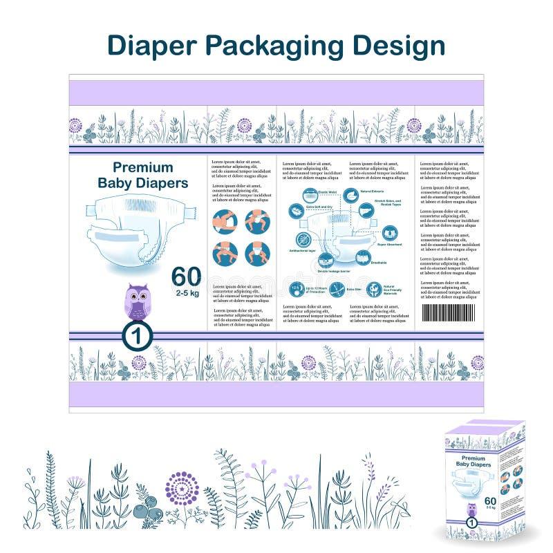 尿布在乱画森林样式的成套设计元素 大小的1尿布pakaging的设计,与花卉边界和猫头鹰 向量例证