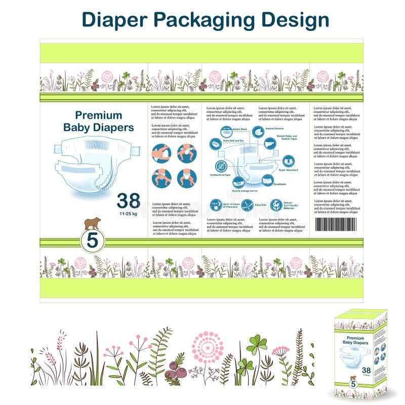 尿布在乱画森林样式的成套设计元素 大小的5尿布pakaging的设计,与花卉边界,尿布 皇族释放例证