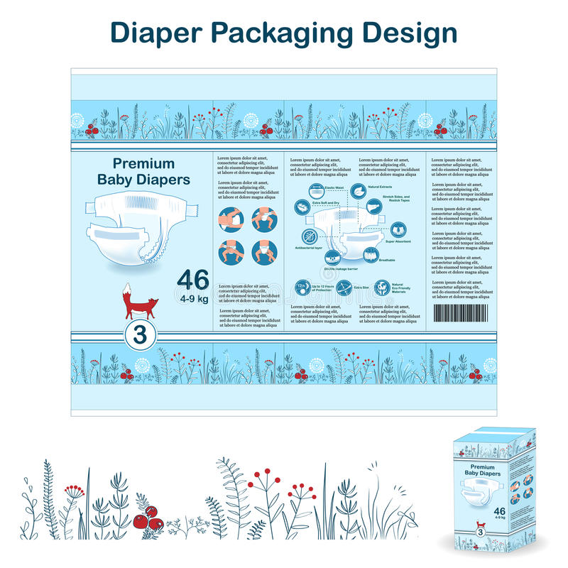 尿布在乱画森林样式的成套设计元素 大小的3尿布pakaging的设计,与花卉边界,尿布 向量例证